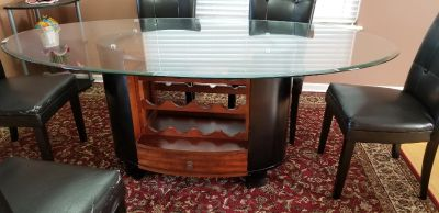 Glass Top dining table with wine rack with 6 chairs
