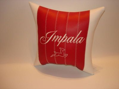 Find vintage custom made 61 IMPALA car show pillow red/white pleated.. motorcycle in Bartlesville, Oklahoma, US, for US $14.95