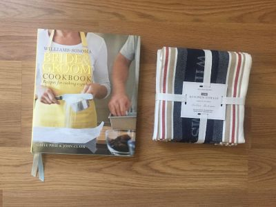 Brand new Williams Sonoma kitchen towels and wedding cookbook