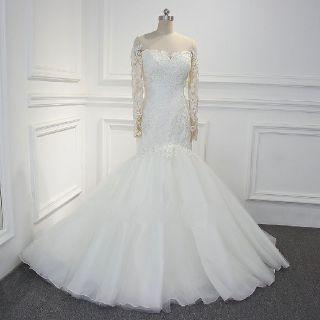 Allison's Mermaid Appliqué Long Sleeve Wedding Gown