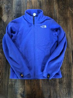 Girls North face fleece zip up coat, size M10/12