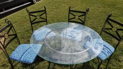 """48""""round glass and metal table and 4 chairs"""
