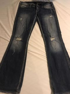 Silver twisted bootcut jeans