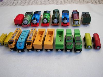 Asst Wood Train Cars -Thomas and Friends/ Ikea/ Battat- Used - Very Good Condition-20 Pcs
