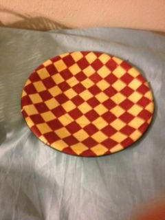 "Decorative Plate Red Yellow Fat Chef 14"" Plaid Checked Kitchen Bake Cook Dinner Breakfast"