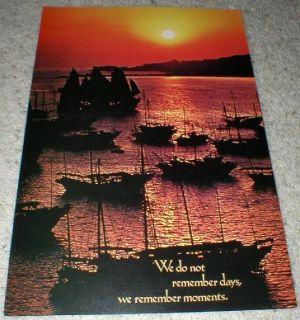 """We do Not Remember Days……"" SailBoats in Moonlight Vtg Poster 1975 - 14"" x 21"" - Unframed"