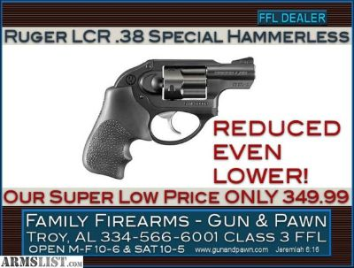 For Sale: Ruger LCR .38 Special at an amazing low 349.99