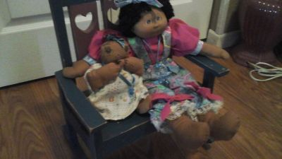 Hand Sewn Toddler and Baby Dolls with own Rocking Chair