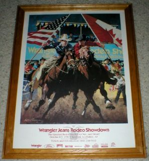 Wrangler Jeans Rodeo Showdown Scottsdale, AZ - 1990 - Framed Poster - Signed