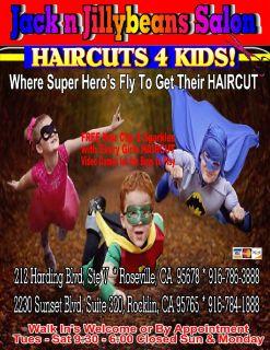 Jack n Jillybeans Salon's HAIRCUTS 4 Kids 916-786-3888