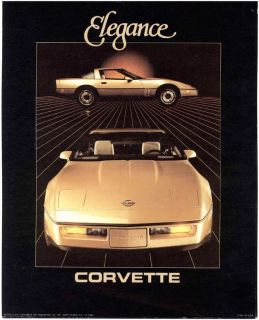1986 Corvette Gold Chevy Chevrolet Elegance Print Litho Picture Advertisement Ad