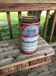 Vintage Budweiser Beer Large Metal Can Cooler Insulated 6-Pack