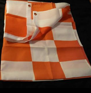 Large Orange and White Checkerboard Flag