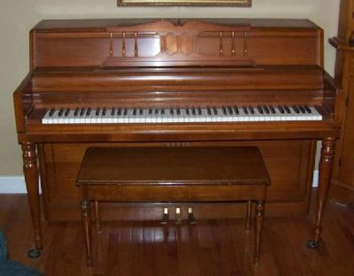 1950 Maple Wurlitzer Upright Piano & Bench