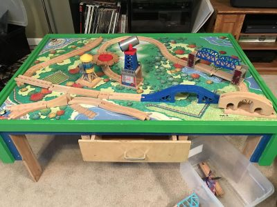Custom built Thomas the Train table with tons of track and trains (much more than pictured here)