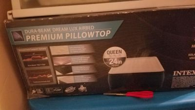 Pillowtop blow up queen bed new