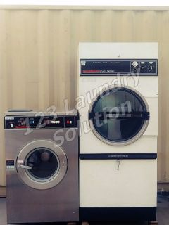 Coin Operated Speed Queen Single Pocket Dryer 120v 60Hz 1Ph and Washer 208-240v 60Hz Set Used
