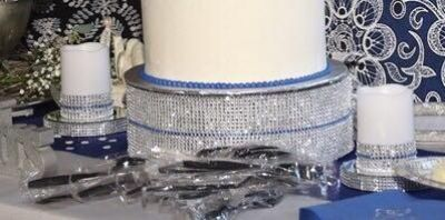 Cake plate with candles and mirrors