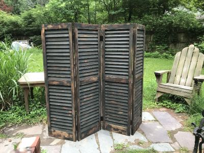 Set of 4 Antique 19th century shutters repurposed into a Lg folding screen $225 obo