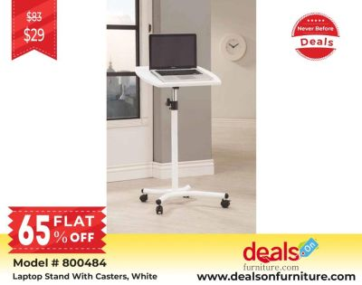 Buy Coaster Laptop Stand With Casters, White 800484 only for $29
