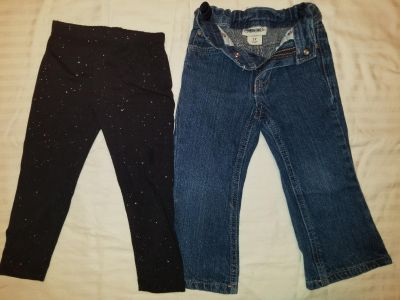 Lot of 2 : 2T pants, 1 adjustable bj and 1 blk leggings