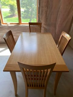 Wood dinning table with 4 chairs
