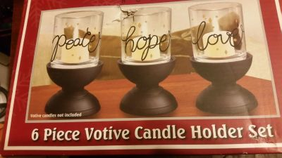 New 6 pc candle holders $3