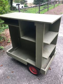 Vintage wood garden, cleaning, or utility cart