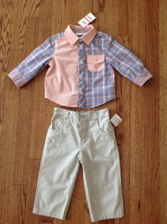 New with Tags First Impressions Baby Toddler Boys 2-Piece Shirt and Pants Set, size 12 months