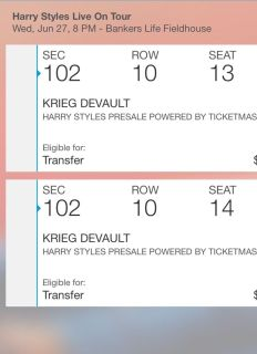 2 Harry Styles concert tickets- June 27th Indy