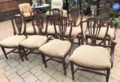8 Mahogany Hepplewhite Style Shield Back Dining Chairs Upholstered Seats