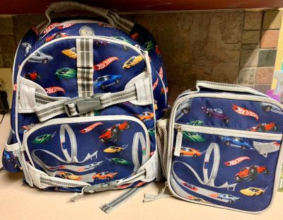 Pottery Barn Kids Hotwheels collection backpack and lunchbox