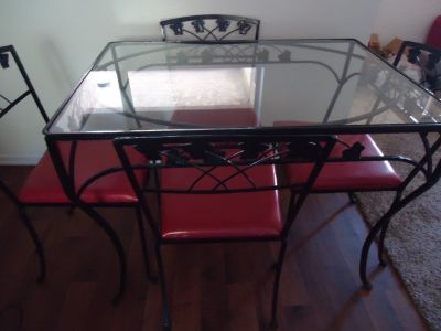 Wrought Iron Black/Red Table w/Four Chairs