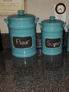 2 Teal Canisters
