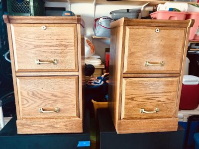 Matching Wooden Filing Cabinets