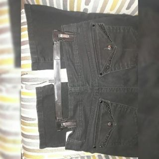 Black jeans with rhinestones on front & back pockets