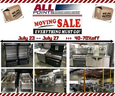 RESTAURANT EQUIPMENT MOVING SALE