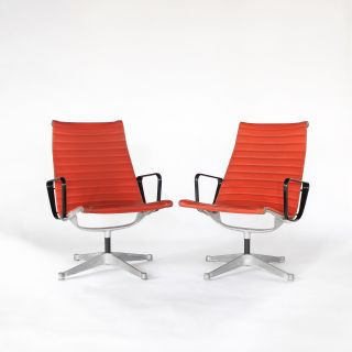 Eames Aluminum Red Lounge Chairs for Herman Miller