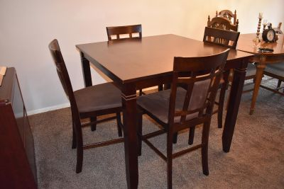 Tall dining table with 4 chairs dk brown