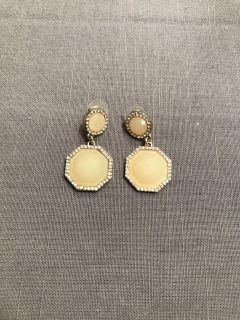 Light yellow and silver earrings