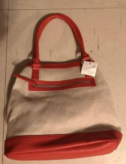 New Jaclyn Smith Collection-tangerine & Beige Purse 12 Tall handle is 9 14 long & 7 Wide