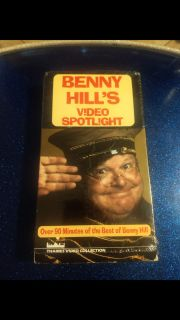 Vintage, Benny Hill's Video Spotlight VHS. Ave online price w/shipping is $7.00. Asking $5.00