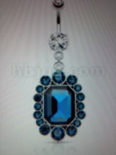 Dangle blue gem belly ring