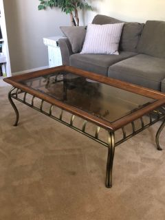 Coffee table and 2 end tables. Glass tops. Good condition.