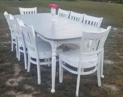Country Gray and White Farmstyle Dining Table w/2 Leaves (Chairs Sold Separately)