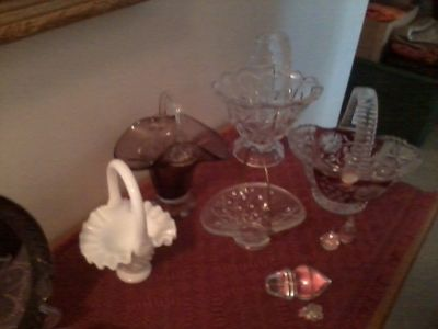 6 GLASS BASKETS COLLECTION & MISC PCS