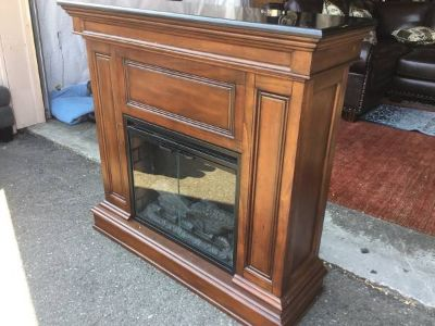 Very Nice, Large Marble Topped Electric Fireplace Heater And Mantle