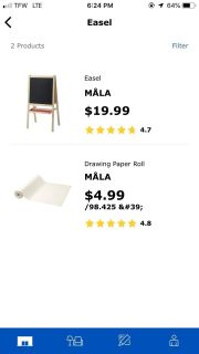 Ikea easel and paper roll