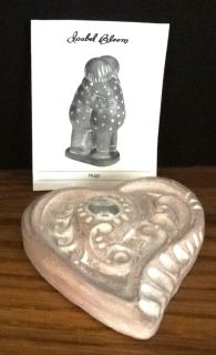 Isabel Bloom Cement Sculpture Heart with Glass Stone 2002 Rose Tint Signed