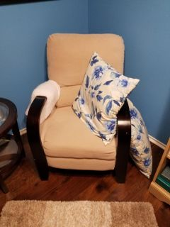 Beige and Wood Recliner